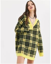 Collusion Oversized V Neck Check Sweater - Yellow