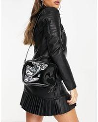 Glamorous Exclusive Cross Body Boxy Bag With Top Handle - Black