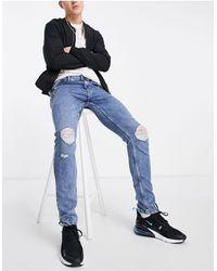 Only & Sons Sweat jeans blu elasticizzati slim fit con strappi