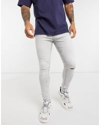 Bershka Super Skinny Jeans With Knee Rips - Gray