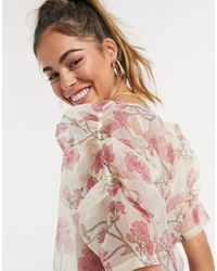 Vero Moda Кремовая Блузка Из Органзы С Объемными Рукавами И Принтом -мульти - Многоцветный