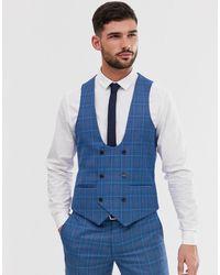 Original Penguin Orginal Penguin Slim Fit Blue Prince Of Wales Check Suit Waistcoat