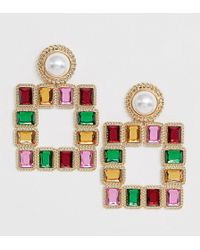 Reclaimed (vintage) - Inspired Earrings With Colored Stones And Faux Pearls - Lyst