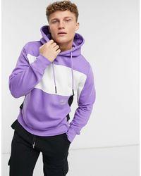 Pull&Bear Hoodie avec empiècements contrastants blancs - Lilas - Violet