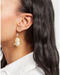 Mango Faux Pearl Drop Earrings - Metallic
