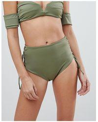 SKYE & staghorn - Skye & Staghorn - Slip bikini a vita alta a righe con laccetti - Lyst