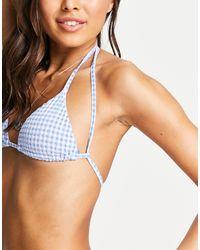 Pull&Bear Bikinitop Met Gingham Ruit En Gekruiste Rug - Blauw