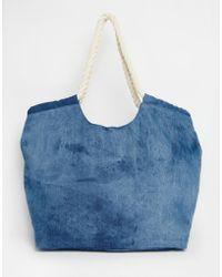 South Beach Outh Beach Beach Bag In Denim With Rope Handle - Blue