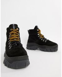 Bronx - Black Suede Chunky Hightop Trainers - Lyst