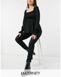 New Look Черный Гофрированный Топ С Баской -черный Цвет