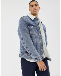 Bershka - Denim Jacket In Mid Blue With Borg Collar And Lining - Lyst
