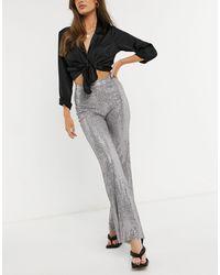 ASOS Jersey Sequin Wide Leg Suit Trouser - Metallic