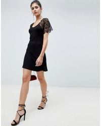 ASOS DESIGN - Corded Lace Fit And Flare Mini Dress - Lyst