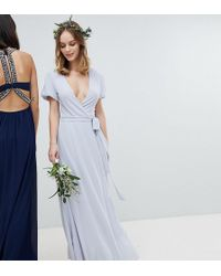 TFNC London Wrap Maxi Bridesmaid Dress With Tie Detail And Puff Sleeves - Gray
