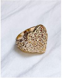 ASOS Ring Met Hartvorm Met Structuur - Metallic