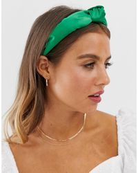 ASOS Headband With Knot Front In Green Satin