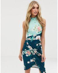 Lipsy Hoogsluitende Midi-jurk Met Overslag En Bloemenprint - Blauw