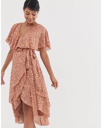ASOS Midi Dress With Cape Back And Dip Hem - Pink
