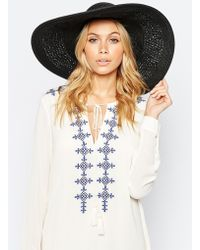 ASOS - Oversized Straw Hat With Crochet Insert - Black - Lyst