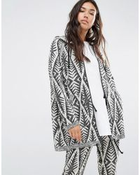 Billabong - Oversized Zip Hoodie With Drawstring Hem In Abstract Design - Lyst