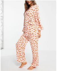 Y.A.S Esclusiva - Pigiama con camicia stile kimono e pantaloni con stampa di ciliegie - Multicolore