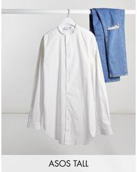 ASOS - Белая Удлиненная Рубашка С Воротником На Пуговице - Lyst