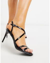 New Look Cross Strap Patent Stilettos - Black