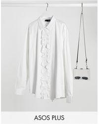 ASOS Plus - Slim-fit T-shirt Met Ruches Van Satinet Aan - Wit