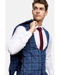 TOPMAN Skinny Suit Waistcoat - Blue