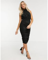 AX Paris Glitter Ruched High Neck Midi Dress - Black