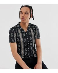 ASOS - Tall Polo With All Over Paisley Print And Revere Collar - Lyst