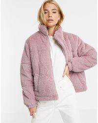 New Look Дутая Куртка Из Искусственного Меха Светло-розового Цвета -розовый