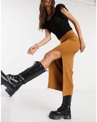 TOPSHOP Rib Midi Knit Skirt - Natural