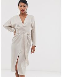 ASOS - Midi Dress With Batwing Sleeve And Wrap Waist In Satin - Lyst