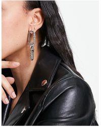 ASOS Boucles d'oreilles pendantes style maillon avec cristaux - é - Métallisé