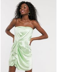 C/meo Collective My Way Satin Bandeau Mini Dress - Green