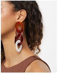 Ashiana Grosses boucles d'oreilles pendantes en résine - Écaille - Marron