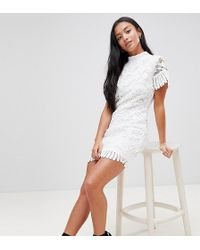 7b555190da8b Boohoo Exclusive Ruffle Trim Star Print Mesh Mini Dress in Black - Lyst
