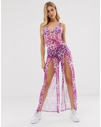 ASOS Strappy Cami Mesh Jumpsuit With Thigh Splits In Tie Dye Print - Purple