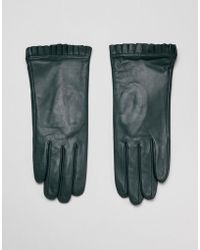Barneys Originals Real Leather Gloves With Pleated Detail - Green