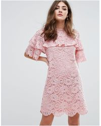Miss Selfridge Ruffle Lace Shift Dress - Pink
