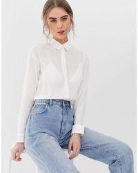 New Look - Camicia bianca con bottoni - Lyst
