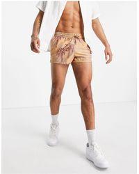 ASOS Swim Shorts With Palm Tree Print - Multicolour