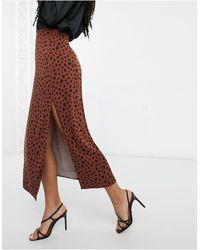 ASOS Midi Skirt With Thigh Split - Brown