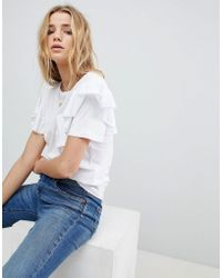 Glamorous T-shirt With Ruffle Sleeves And Chest Pocket - White