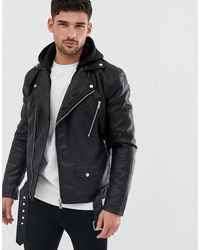 River Island Faux Leather Biker Jacket With Hood - Black