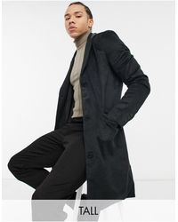 Another Influence Tall Wool Blend Overcoat - Black