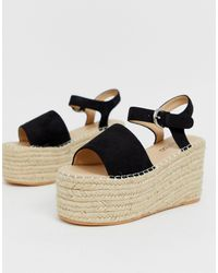 Boohoo Womens Knot Front Square Toe Flatform Sandals - Black - 6