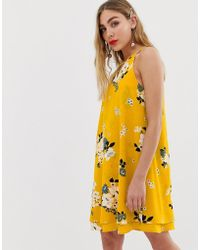ONLY Keyhole Floral Shift Mini Dress - Yellow