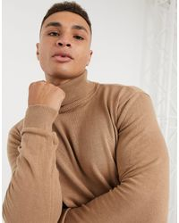 Brave Soul 100% Cotton Roll Neck Sweater - Brown